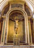 Detail of Christ Crucifixtion Statue Inside  basilica of the Virgen del Pilar, Zaragoza, Aragon, Spain. Royalty Free Stock Photo