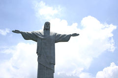 Detail of Christ the Redeemer over blue sky in Rio de Janeiro, Brazil Royalty Free Stock Photos