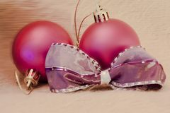 Detail of christmas balls with bow royalty free stock photos