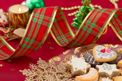Detail of Christmas cookies with Xmas decoration Royalty Free Stock Photos