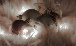 Macro detail of several christmas balls royalty free stock photography