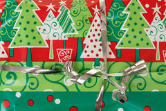Detail of christmas gift with silver ribbon Royalty Free Stock Photos