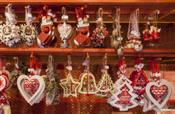 Detail of a Christmas Market Stand Stock Image
