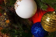Detail Christmas tree decoration. Balls Christmas on  tree decoration Stock Photos