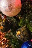 Detail Christmas tree decoration. Balls Christmas on tree decoration Royalty Free Stock Photos