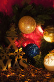 Detail Christmas tree decoration. Christmas tree decoration and nuts Stock Photography