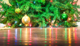 Detail of Christmas tree decorations with lights reflections Royalty Free Stock Photography