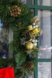 Detail on Christmas wreath. Detail of decorations on Christmas wreath Royalty Free Stock Photos
