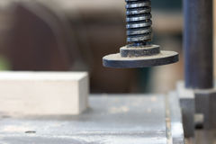 Detail of the chuck in the carpentry workshop - shallow depth of Royalty Free Stock Image