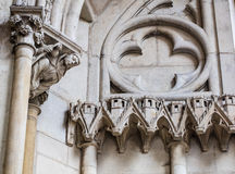 Detail, church or cathedral facade made of limestone and sculptures Stock Photo