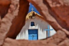 Detail of the church. Machuca village. San Pedro de Atacama. Antofagasta Region. Chile Stock Photo