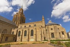Detal of the Church of Our Lady or Église Notre-Dame in Calais, France stock photo