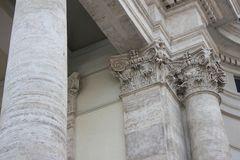 Particular of church. Detail of  church in rome with columns and artistic  style Royalty Free Stock Photography