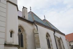 Detail of church of Saint Mark in Zagreb Stock Images