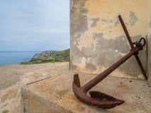 Detail the Church of St. Barbara in Argentiera. Sardinia island, Italy Stock Photography