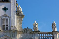 Detail of church in steyr austria. Cathedral of steyr detail of roof Royalty Free Stock Photo