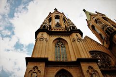 Detail of church tower. royalty free stock photography