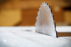 Detail of circular saw. Detail of circular saw with nice bokeh on background stock images