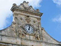 A detail of the city hall of Ostuni Royalty Free Stock Photos