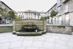 Detail of the city of Pontevedra Spain. PONTEVEDRA, SPAIN - FEBRUARY 2, 2016: One of the central streets in the historic center of the city royalty free stock image