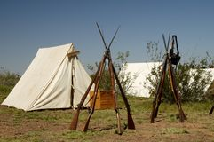 Detail in a Civil War Encampment 4. Tents and rifles in a civil war encampment Royalty Free Stock Photography