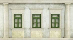 Detail of classc facade. Detail of classic facade with three green windows and column - rendering Stock Photography