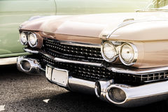 Detail of classic american car. Headlamp close up. Royalty Free Stock Photography