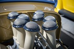 Amercan classic cars. Detail of classic custom American show car Royalty Free Stock Image