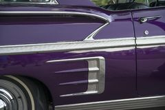Amercan classic cars. Detail of classic custom American show car Royalty Free Stock Images