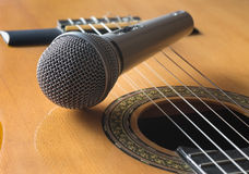 Detail of classic guitar and microfone Stock Image