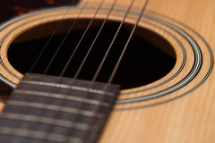 Detail of classic guitar with shallow depth of field Stock Photography