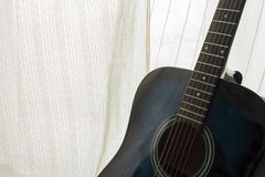 Detail of classic guitar with shallow depth of field.  Stock Photo