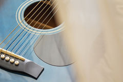 Detail of classic guitar with shallow depth of field.  Royalty Free Stock Images