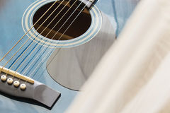 Detail of classic guitar with shallow depth of field.  Stock Photography