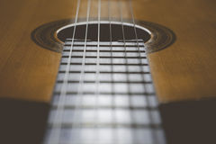 Detail of classic guitar with shallow depth of field Stock Images