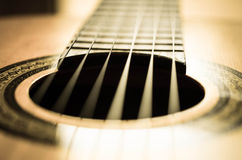 Detail of classic guitar with shallow depth of field Royalty Free Stock Image