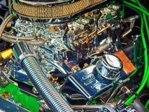 Vintage car engine. Detail of a classic vintage car engine, selective focus stock images