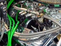 Vintage car engine. Detail of a classic vintage car engine, selective focus royalty free stock photo