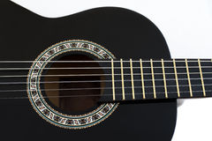 Detail of Classical Acoustic Guitar Isolated on a White Backgrou royalty free stock image