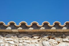 Detail of clay roof tiles from a mediterranean country house on. A sunny day Royalty Free Stock Images