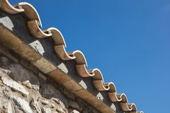 Detail of clay roof tiles from a mediterranean country house on stock images