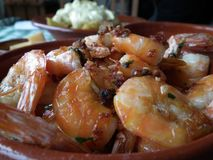 Detail of shrimp dish with garlic. stock image