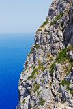 Detail of a cliff coast in Mediterranean Sea Stock Photos