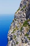 Detail of a cliff coast in Mediterranean Sea Stock Photos