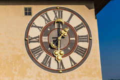 Detail Of Clock Face Of Clock Tower- Graz, Austria royalty free stock photography