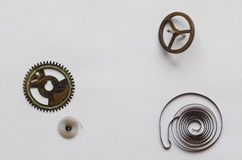 Detail of a Clock's Springs gyroscope and gear. Twoo springa a gyroscope and a gear, coming from an old clock in color compo Royalty Free Stock Image