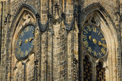 Detail of the clock tower of the Cathedral of Saints Vitus Stock Images
