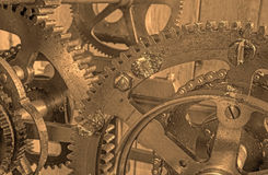 Detail of clockwork from colcktower Stock Photos
