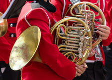 Detail close up of French Horn musical instrument.  Stock Image
