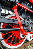 Detail and close up of huge wheels at one old german steam locomotive Royalty Free Stock Images